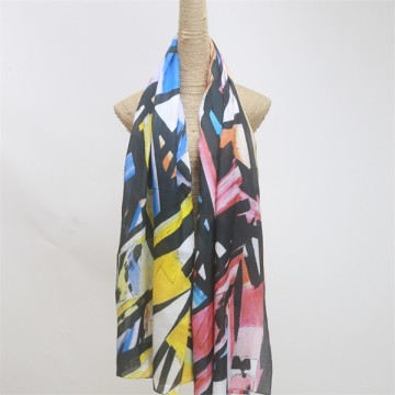 Digital Printed Colorful Silk Cotton Scarf with Abstract Designs