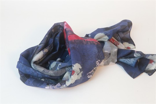 Flower Digital Print Cotton Silk Blend Scarf