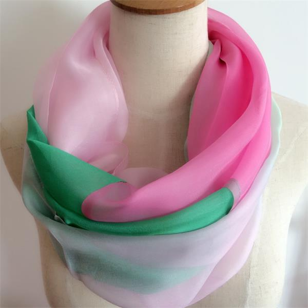 silk infinity pink and green scarf, (1)