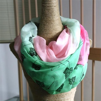 silk infinity pink and green scarf(3)
