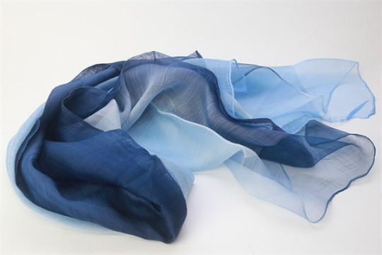 Double Layers Blue Thin Ombre Wool Silk Organza Scarf
