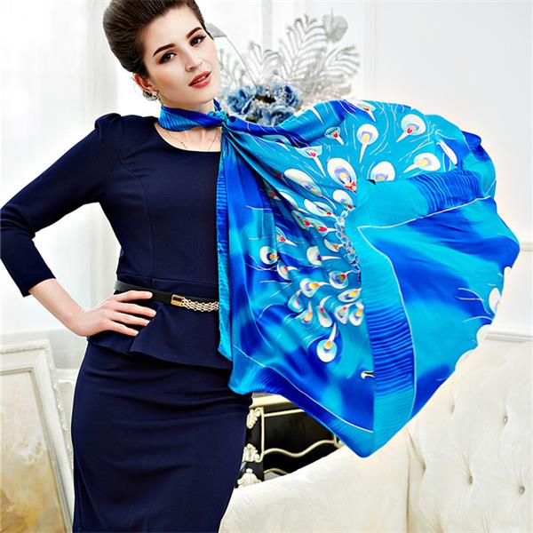 silk peacock scarf foulard de soie (3)