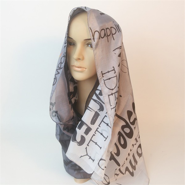 slogan printed letter scarf of 100 silk pongee material (2)