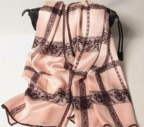 Lace Print Soft Pink Rectangular Silk Scarves