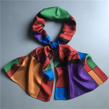 Abstract Print Twilly Oblong Silk Scarf