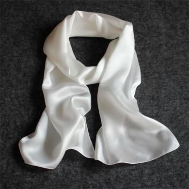 white crepe back satin silk scarf