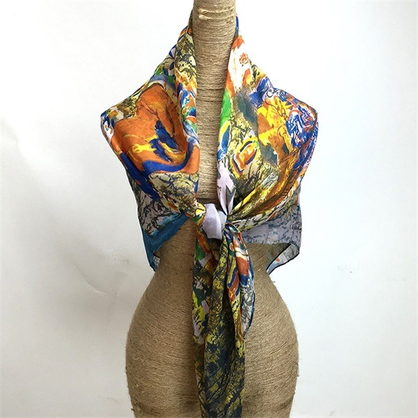 women's thin sheer chiffon scarves 100 silk(1)