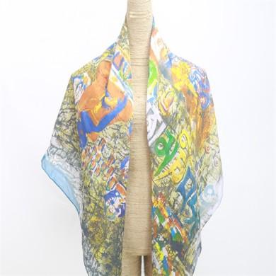 women's thin sheer chiffon scarves 100 silk(2)