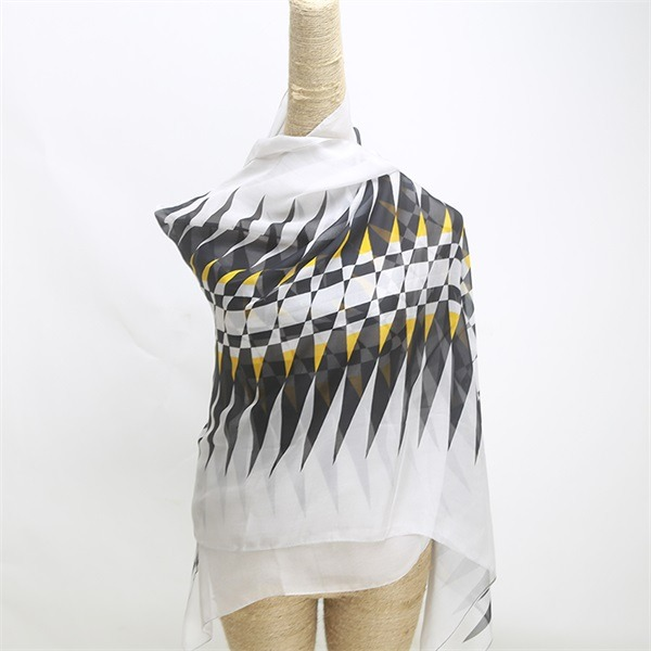 zigzag digital printed white 100 silk chiffon scarf (1)