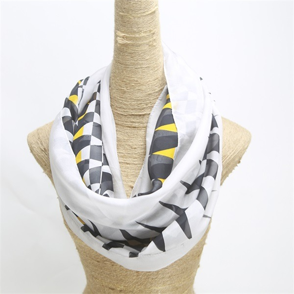 zigzag digital printed white 100 silk chiffon scarf (3)