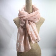 Peach Pink Silk Wool Mix Shawl with Lurex