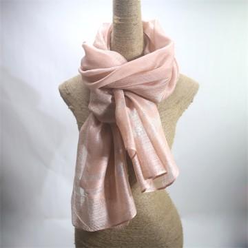 Peach Pink Silk Wool Mix Shawl with Lurex
